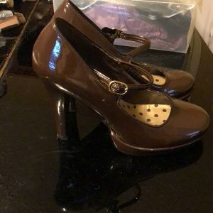 Chocolate patent Mary Janes